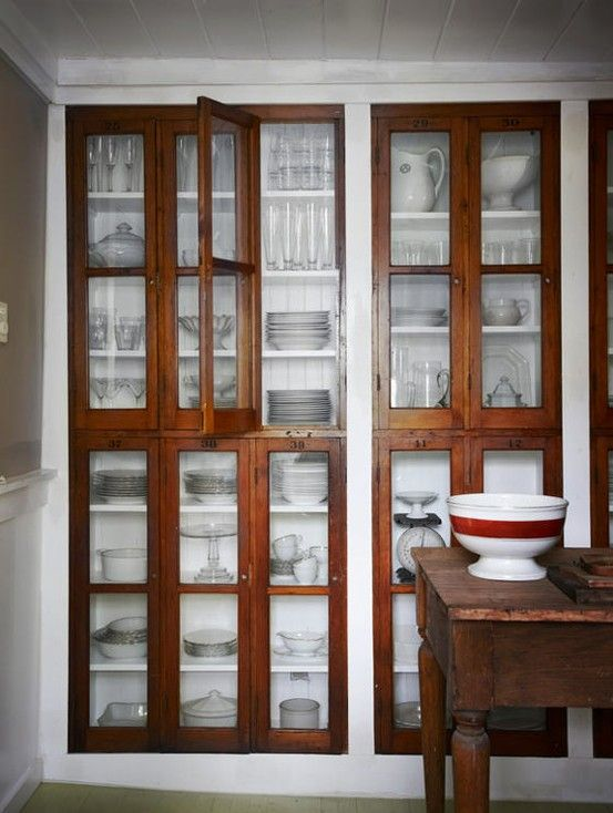 Built in kitchen storage - Cabinets with wood and glass doors