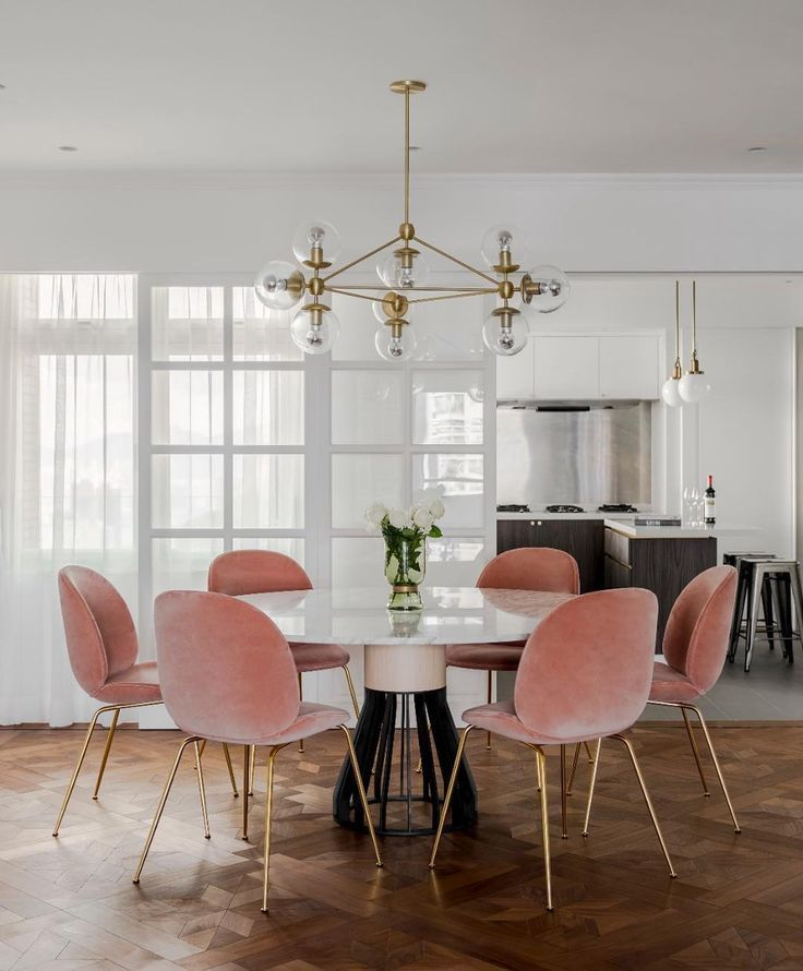 Mid Century Modern Glam Dining Room Pink Dining Room Chairs