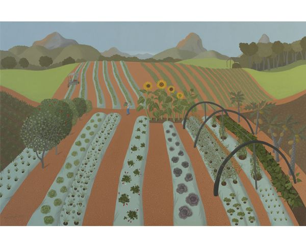 Anne Marie Graham. Mixed farm with sunflowers