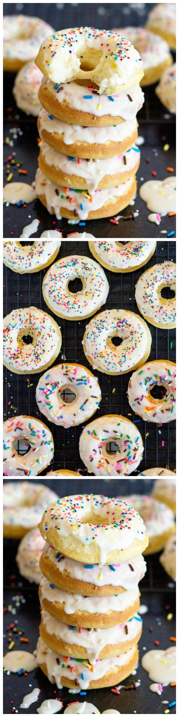 Baked donuts made the quick and easy way with a pre-made boxed cake mix!