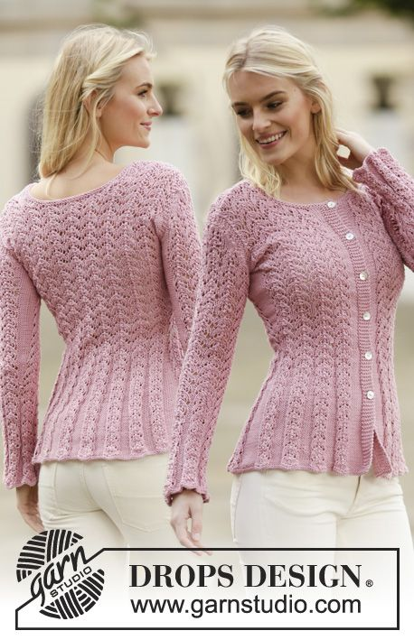 "Knitted DROPS jacket with lace pattern in ""Muskat"" or ""Belle"". Size: S - XXXL. ~ DROPS Design"