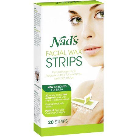 Nad's Facial Wax Strips, 20 count