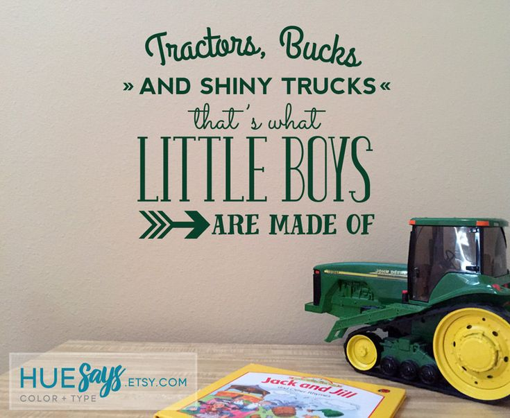 Tractors, Bucks, and Shiny Trucks! This wall vinyl is perfect for a baby boys farm themed nursery, ranch themed nursery and still transitions to work perfectly in a toddler boys room! If youre a John Deere family, order it in green; a Case family, order in red!  I can also modify this saying to make it work for you - just ask!  A Free Applicator Tool and test graphic will be included to make application simple and easy.  If you are ordering multiple items, I may be able to combine shipping…