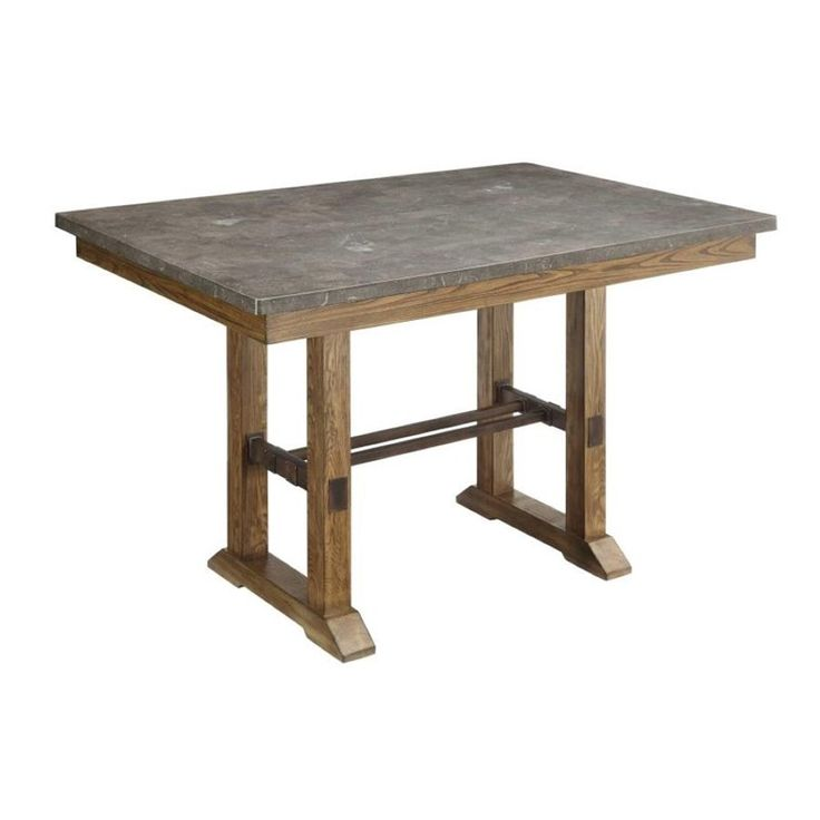Willowbrook Rustic Industrial Counter Height Table With Bluestone Top