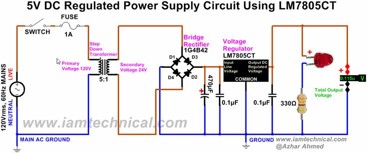 Regulated Dc Power Supply Circuit Using Bridge Rectifier