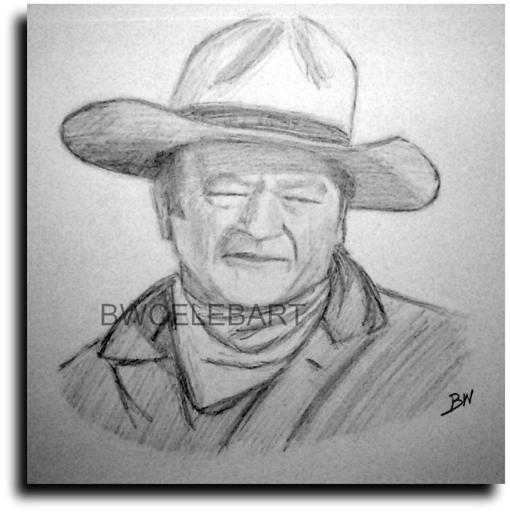 John wayne pencil drawing portrait duke western movies the cowboys b movies