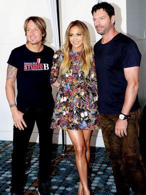 American Idol judges Keith Urban, left, Jennifer Lopez,