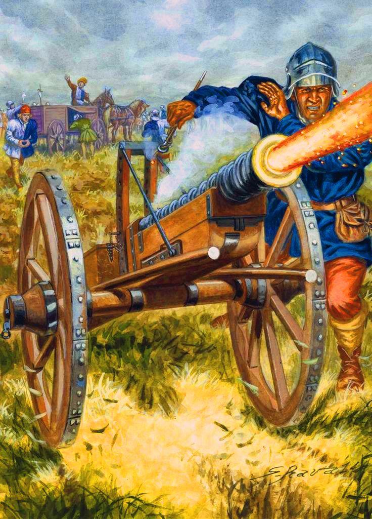 French artillery cannon firing, Hundred Years War- by Giuseppe Rava
