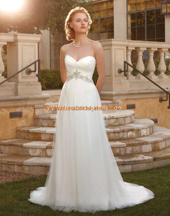 Romantische Maßgeschneiderte Brautkleider aus Chiffon Kolumne Herzausschnitt