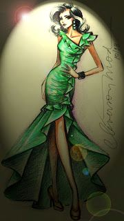 DESENHOS DE MODA: Desenhos de Moda - Vestido verde de festa.