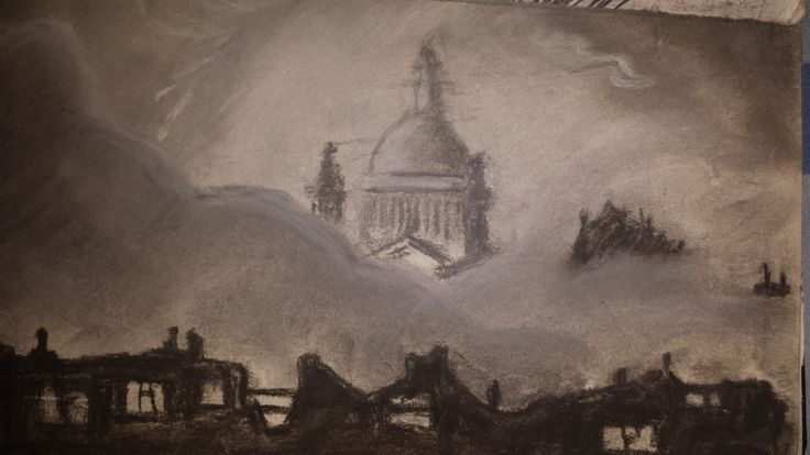 Copy of a London blitz scene, St Pauls in the background (charcoal).
