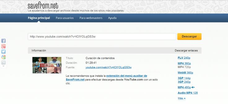 Descarga de vídeo con Savefrom.net: Vídeo Con,  Internet Site,  Website, Web Site, Of Video, Con Savefrom Net, Http Elcontentcurator Com, Discharge