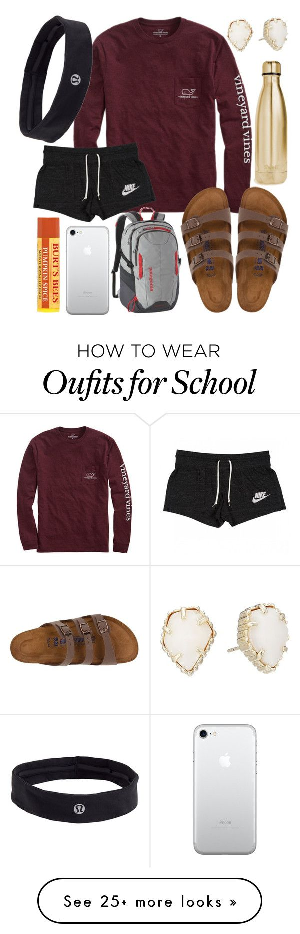 """School outfit"" by jadenriley21 on Polyvore featuring Vineyard Vines, Birkenstock, NIKE, Patagonia, S'well, Kendra Scott and lululemon"