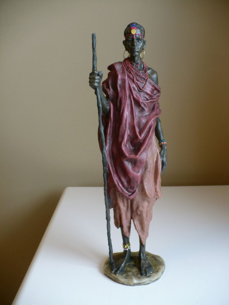 African Man With Walking Stick Figurine Statue 15 In