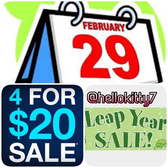 Extended 1 DAY!! After Leap Year Sale After Leap Year Sale!!  EXTENDED Only 1 MORE DAY SALE!!! So hurry because it only comes every 4 YEARS!! ☺️ Like all your 4 likes AND this POST then I will make you a separate listing. NOT INCLUDED  on the items. Any questions, I am always happy to hear from you!! Check out my reviews, a seller you can trust!! ☺️ Other