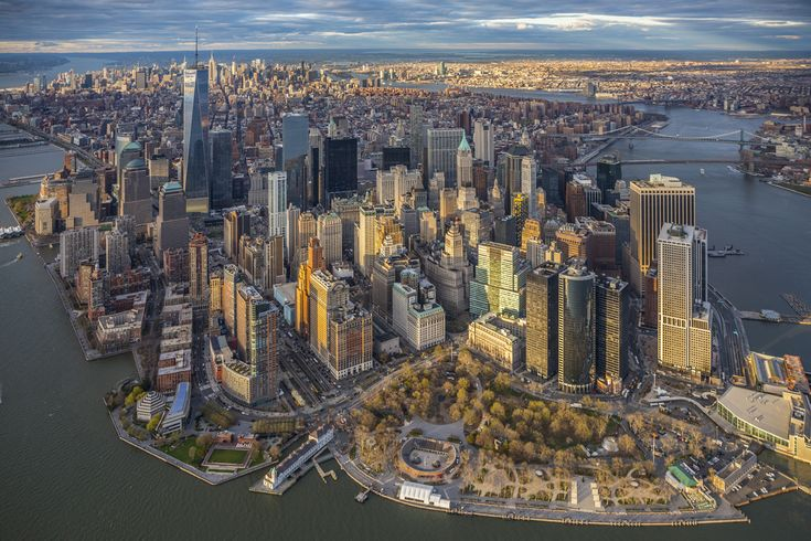 Lower Manhattan with the new One World Trade building in New York City on a spring afternoon - photo by George Steinmetz  (New York Air Collection);  New York