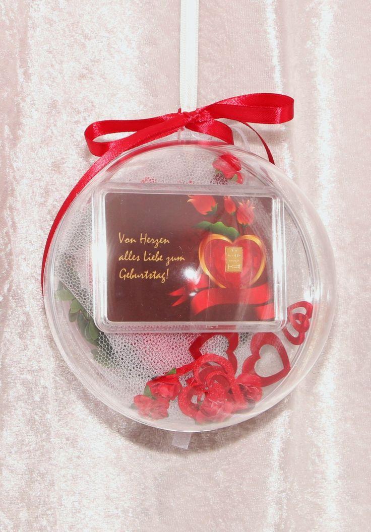 1 g Gramm Gold Goldbarren zum Geburtstag Geschenk mit Herz & Rosen in dekorierter Acrylglaskugel Echtheitszertifikat von GPMetallum auf Etsy
