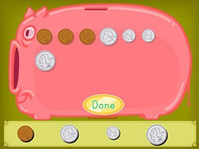 Kids practice counting up coins and adding money to this virtual piggy bank.