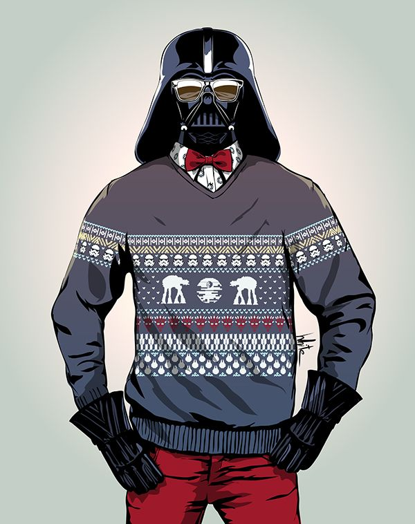 Hipster Darth Vader - Star Wars - Olk White