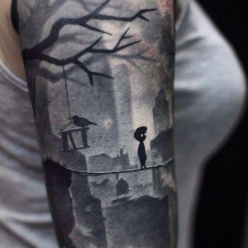 Limbo Tattoo. Tatuaje inspirado en el videojuego Limbo