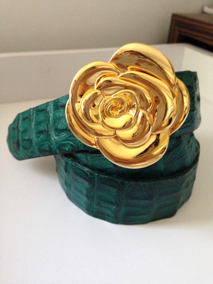 Hebilla rosa, cinturón verde esmeralda, correas, belts