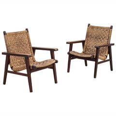 Pair Van Beuren attributed armchairs with woven cord seating, Mexico