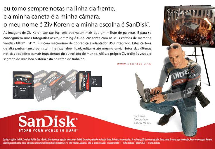SanDisk Ultra Memory Card advert with Ziv Koren - Portuguese typesetting