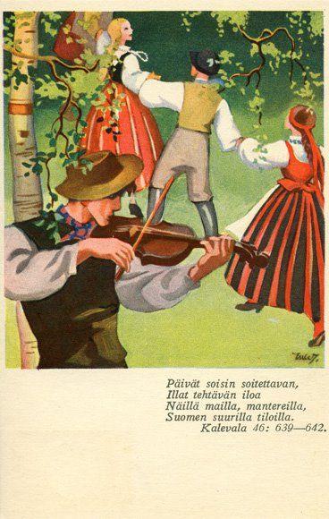 Kalevala dwellers frolicking (card by Martta Wendelin)