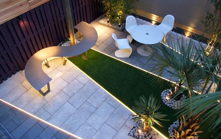 Courtyard garden with LED lighting