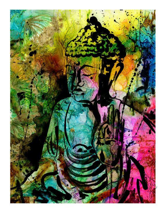 Buddha love spiritual zen art by kathy morton for Buddha mural paintings