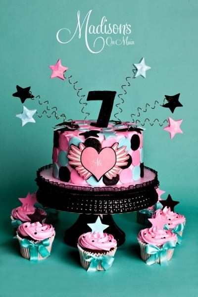 Pink, Black, and Turquoise birthday cake for a little girl...... By DonnaOK on CakeCentral.com