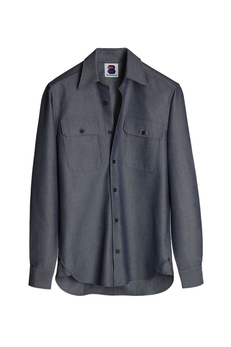 BIONDO ENDURANCE DOUBLE FLAP POCKET HD SPORT SHIRT NARROW FIT CM_0001 Two_Tones Denim Blue