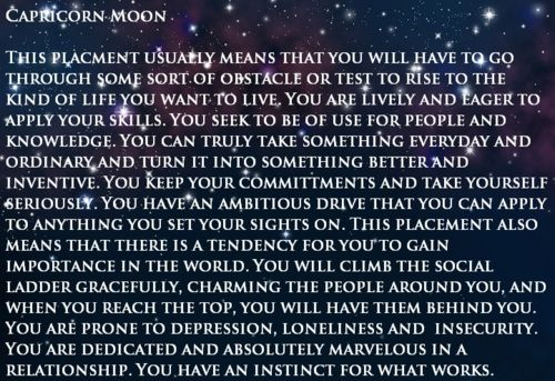 my moon sign Capricorn. Earth.