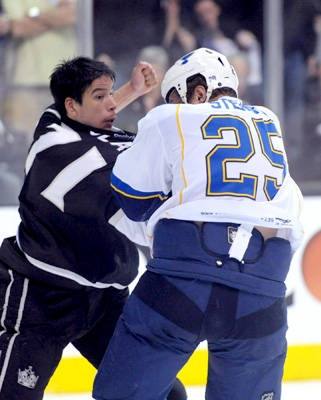 Bring it on After his goal, the Kings' Jordan Nolan proved he could throw down the mitts as well in a tangle with the Blues' Chris Stewart.    Kirby Lee - US Presswire