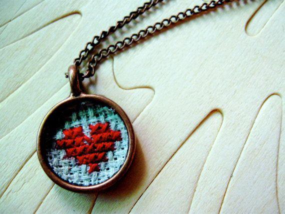 Way cool cross stitch necklace!