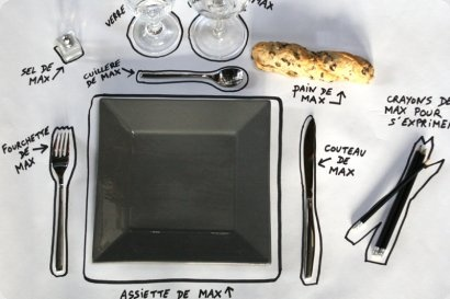 une nappe en papier blanc, des feutres noirs et   beaucoup d imagination pour faire une déco de table trés actuelle pour accueillir vos amis