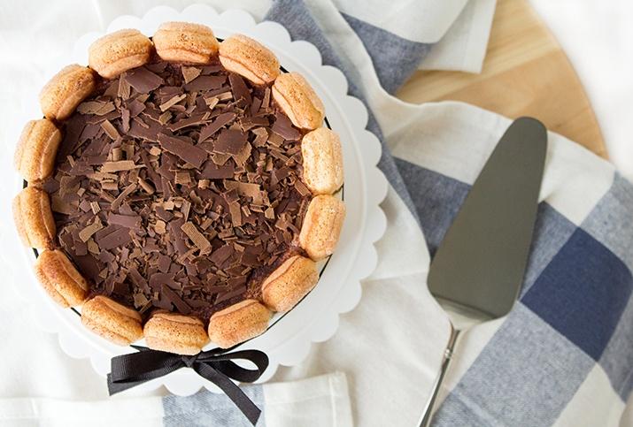 Bake & Bait // Tiramisu Charlotte Recipe - Creamy, delicious mascarpone layers with coffee dipped lady fingers