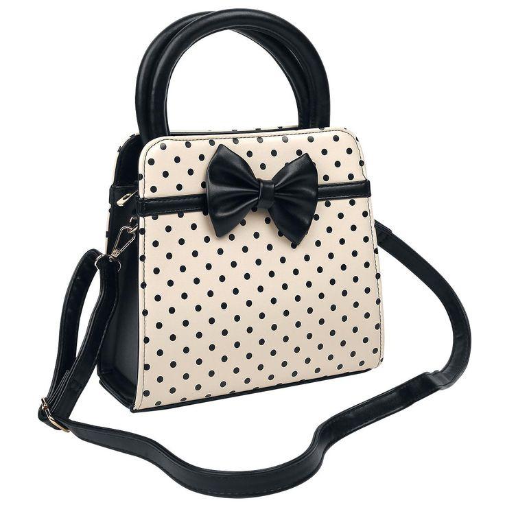 Dancing Days - Polka Dots handtas  - crèmekleurige handtas met zwarte stippen en zwarte strik op de voor- en achterkant - hoofdvak met ritssluiting - hoofdvak verdeeld in twee kleinere vakken met een vakje met ritssluiting in het midden - met haken aan beide kanten waaraan de schouderband (inbegrepen) bevestigd kan worden - met schouderband van ca. 60 - 111 cm (verstelbaar) - breedte: ca. 24,5 cm - hoogte zonder draaghendels: ca. 23 cm - hoogte met draaghendels: ca. 34 cm - diepte: ca. 9,5…