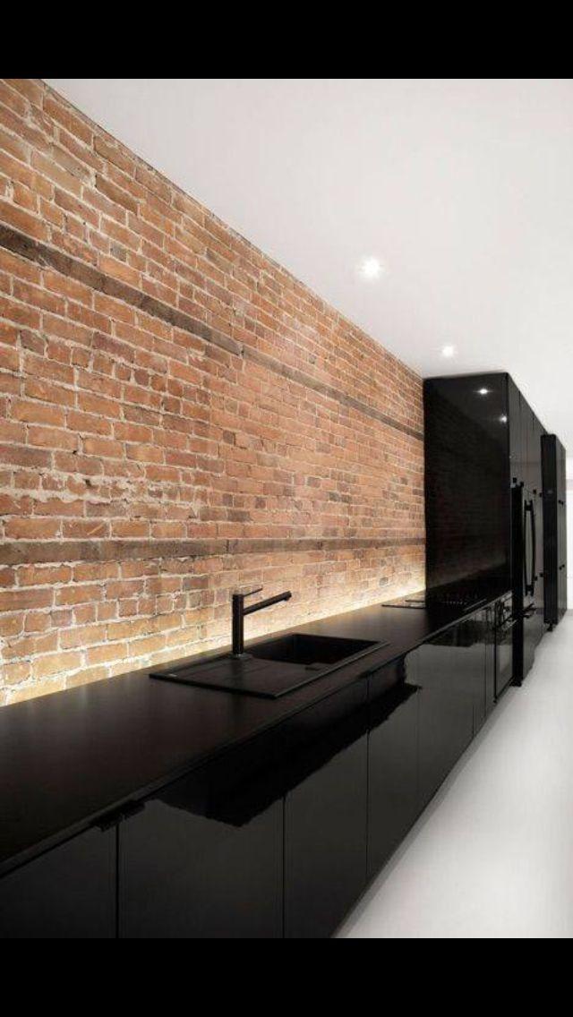Black Kitchen brick wall, great contrast!!