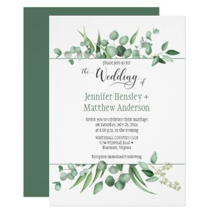 Eucalyptus Envy Framed Wedding Invitation - wedding invitations diy cyo special idea personalize card
