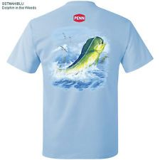 Penn Fishing Reel Rod MAHI DORADO DOLPHIN SSTMAHIBLUL LARGE BLUE BATTLE T Shirt