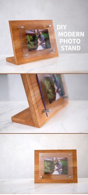 DIY Woodworking Ideas How to build a modern acrylic photo stand out of cherry hardwood.