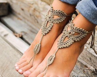 Haak Barefoot sandals, Tan lace schoenen, blootsvoets sandaal, strand bestemming bruiloft, leggings schoenen, bruiloft, bruidsmeisje schoenen, strand schoenen