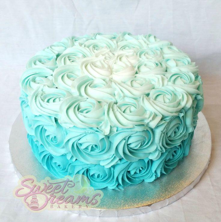 Aqua Rosette Cakes