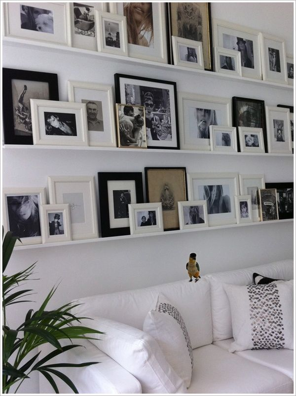 wall decor ideas for white living room using black & white pictures