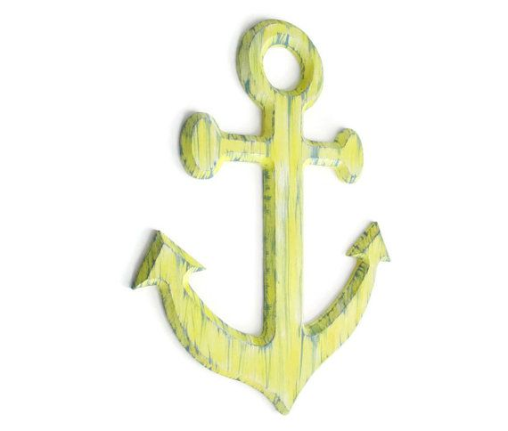 Anchor Wall Art distressed rustic nautical decor custom colors, wall sign in pale yellow and blue-grey, shabby wooden anchor beach decor