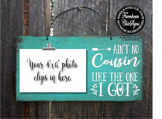 Cousins Picture frame Gift for Cousin Family photo Christmas gift for cousin Personalized picture frame gift farmhouse frame Rustic decor