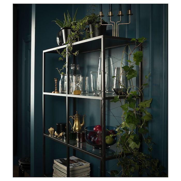VITTSJÖ Stellingkast zwartbruinglas IKEA | Glass