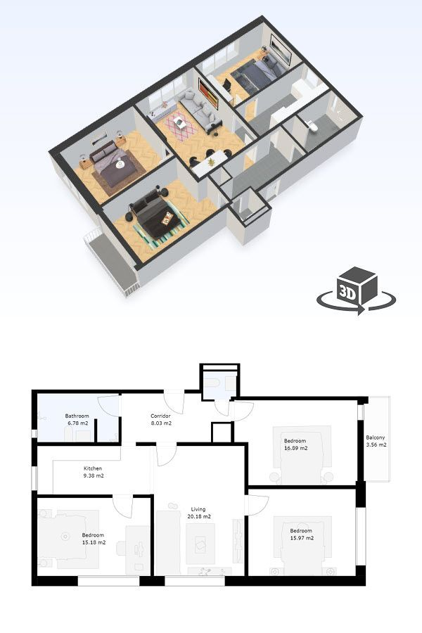 3 Bedroom Apartment Floor Plan In Interactive 3d Get Your Own 3d Model Today At Http Plan Condo Floor Plans Apartment Floor Plan Small Apartment Floor Plans