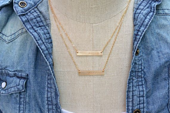 Personalized layering gold bar necklace, perfect for adding children's name or couples jewelry   https://www.etsy.com/listing/168196686/two-gold-nameplate-necklaces-gold-bar $70+